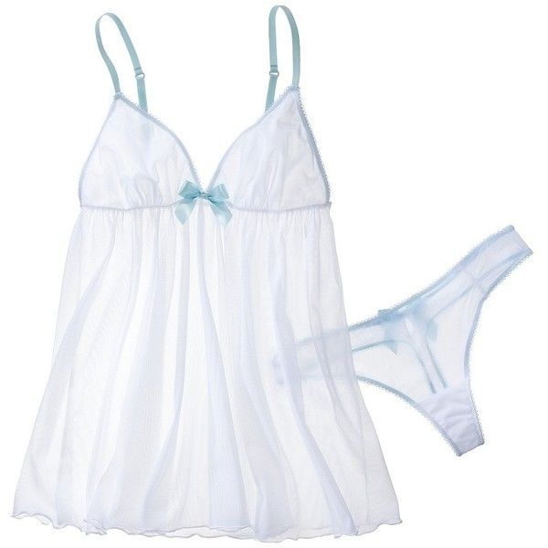 Gilligan & O'Malley Women's Bridal Babydoll - True White ($22) ❤ liked on Polyvore featuring intimates, lingerie, underwear, pajamas, baby doll lingerie, see through lingerie, doll lingerie, babydoll lingerie and sheer lingerie