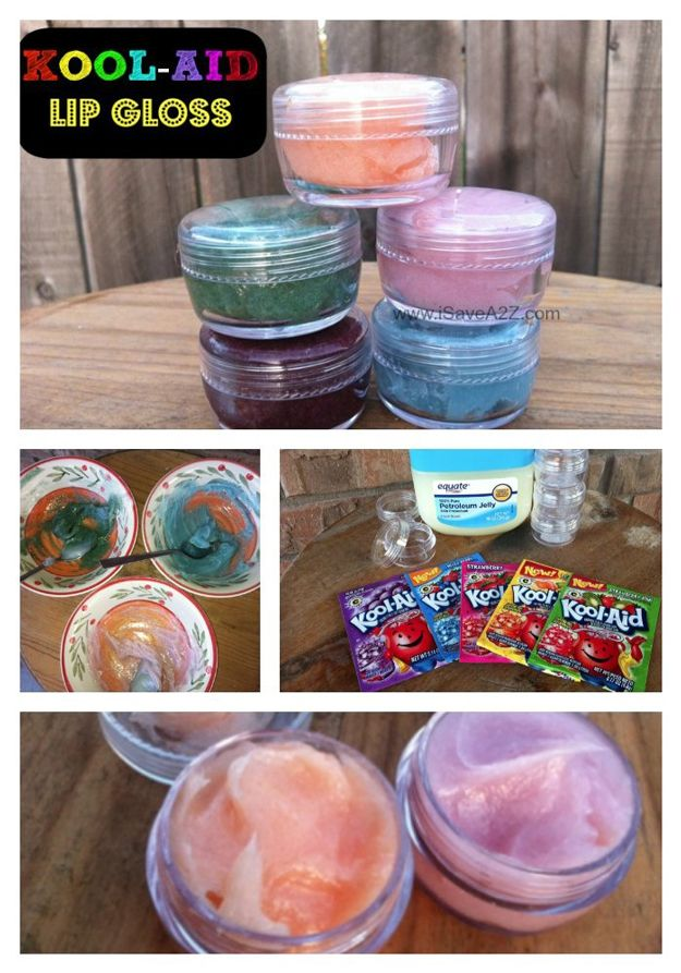 Kool-Aid Lip Gloss | Easy and Fun Projects For Girls by Diy Ready http://diyready.com/19-awesome-birthday-party-craft-ideas-that-will-make-your-day-special/