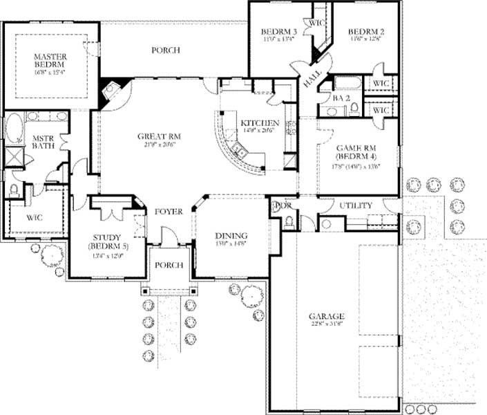 2750 square feet, 5 bedrooms, 2½ batrooms, 3 parking space, on 1 levels, Floor Plan Number 1