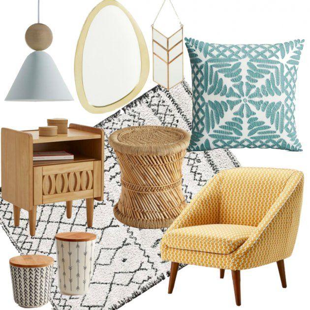 Pour réussir une décoration retro au style bohème associé le rotin au tapis berbère et au fauteuil années 50.