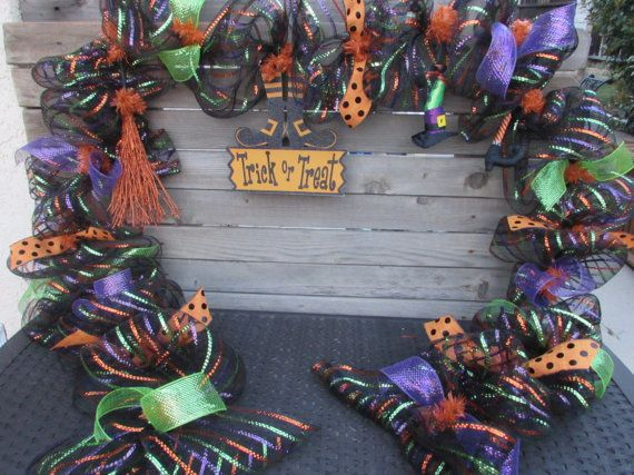 halloween garland halloween deco mesh garland witch garland witchs broom garland witchs leg garland witch trick or treat garland - Deco Mesh Halloween Garland