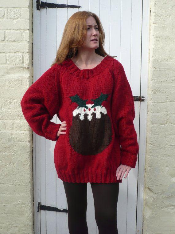 Christmas pudding jumper chunky knitting pattern by berniebeeknits, £2.00