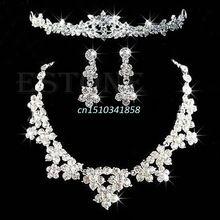 Conjunto de Jóias de casamento Nupcial De Cristal Strass Colar Brincos Tiara Coroa Venda Quente # Y51 # alishoppbrasil