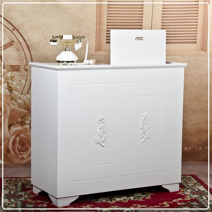 reception? White carved solid wood front desk cashier pastoral the bar club clothing shop counter reception desk