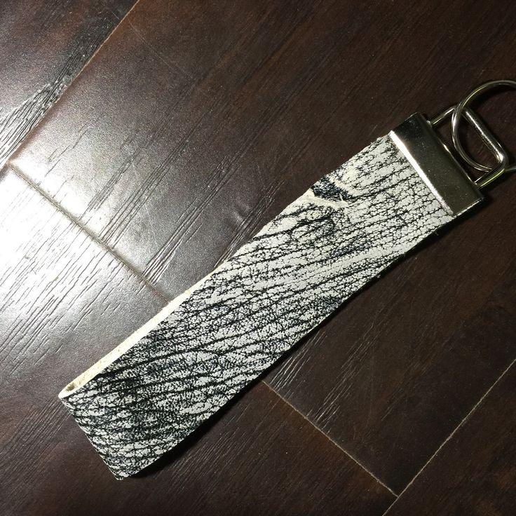 Crackled White Leather Wristlet Keychain by BerkeandBradyJo on Etsy