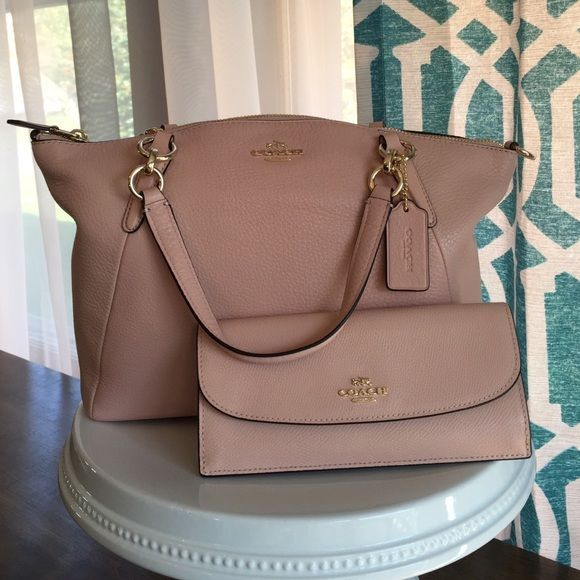"Coach cross body satchel Coach peach rose pebble leather Kelsey cross body satchel! Beautiful purse for spring!! Brand new, never used! Zip top closure, inside zip and two pockets. Shoulder strap. Approx 13""x 9"" x 3"" Coach Bags"