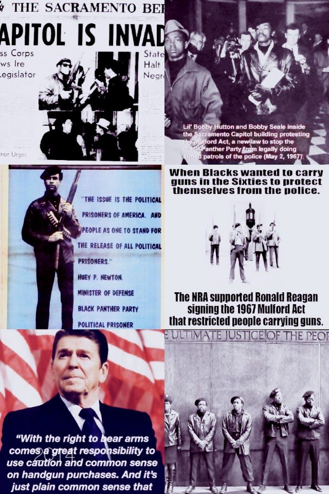 When Blacks wanted to carry guns in the Sixties to protect themselves....the NRA supported Reagan signing the 1967 Mulford Act that restricted people carrying guns.