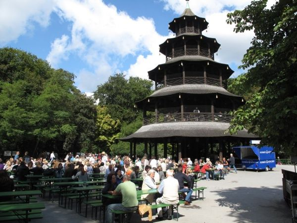 The beer garden by the Chinese Tower in the English Garden, Munich's central park, is one of the city's best known beer gardens. It is the venue of the Kocherlball, the yearly folk dance originally held amongst the servants of Munich's noble classes.