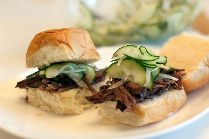 Slow Cooker Korean Beef Sliders with Cucumber Slaw - Mama Say What?!