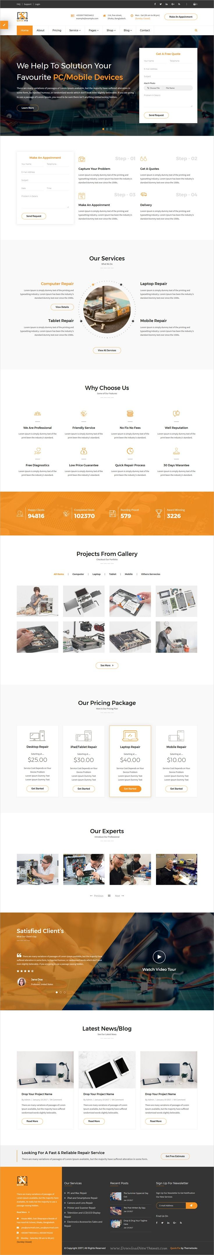 QuickFix is a multipurpose responsive #HTML Template for electronics #repair and #servicing centers website download now➩ https://themeforest.net/item/quickfix-multipurpose-servicing-and-repairing-html-template/19749274?ref=Datasata