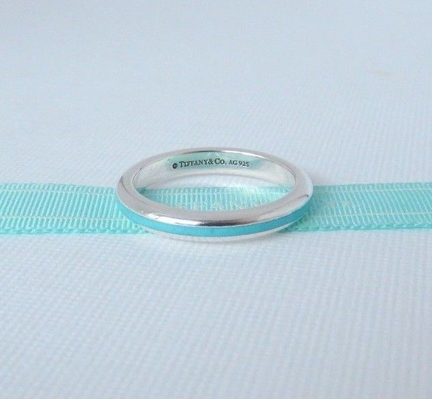 Tiffany & Co Size 6.5 Silver Blue Enamel Stripe Ring Band with Pouch #TiffanyCo #Band