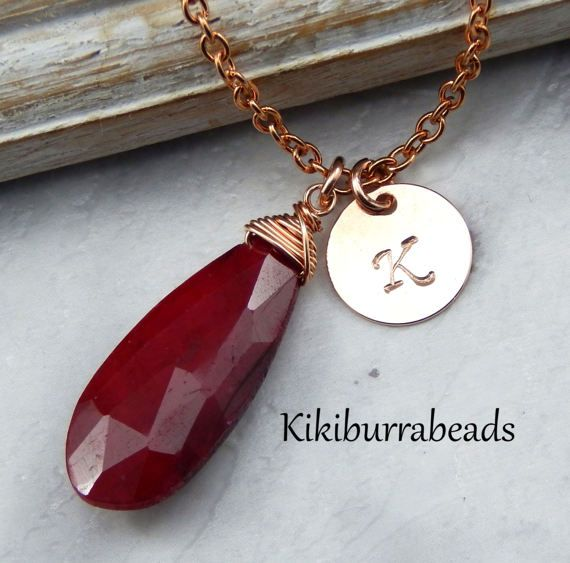 Ruby NecklaceJuly Birthstone by Kikiburrabeads on Etsy