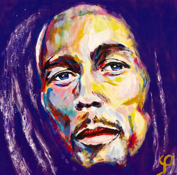 """Bob Marley VI"" by the artist Mark φ Phi. Part of a collection of Bob Marley paintings. Acrylic paint on 12x12 inch acrylic paper 2014. See more art from the Mark Phi Creations Bob Marley collection at http://markphicreations.com/"