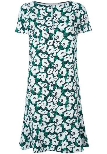 Green, white and black #floral print #dress from #StellaMcCartney featuring a round neck, short sleeves, a shift silhouette and a ruffled hem. @stellamccartney http://bit.ly/1QmNaqQ