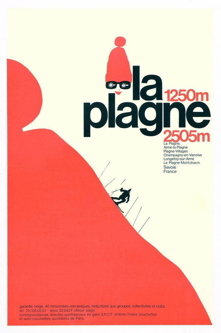 Travel poster for La Plagne ski area in Savoie, France, circa 1971.
