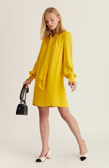 991c2899ca3 French Connection Long Sleeve Shift Dress in Yellow 2 - 6