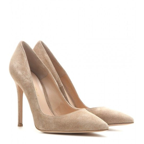 Gianvito Rossi Suede Pumps (£440) ❤ liked on Polyvore featuring shoes, pumps, heels, gianvito rossi, sapatos, beige, suede pumps, pointy-toe pumps, beige suede shoes and beige pumps