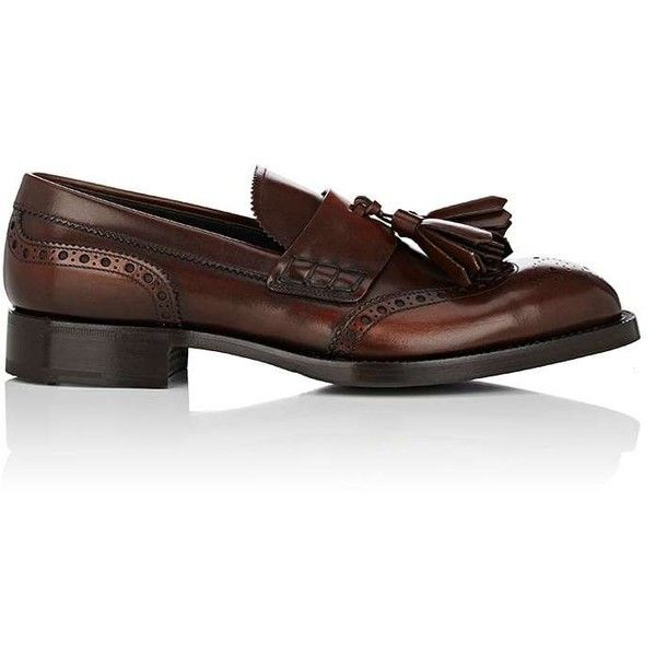 Prada Men's Burnished Leather Wingtip Loafers (67.930 RUB) ❤ liked on Polyvore featuring men's fashion, men's shoes, men's loafers, mens monk strap shoes, mens slip on loafers, mens loafer shoes, mens perforated shoes and mens shoes