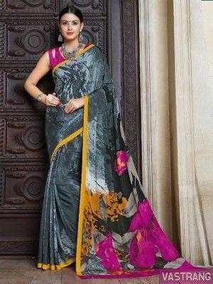 Grey & Pink Crepe Silk Beautiful Printed Sobar Saree