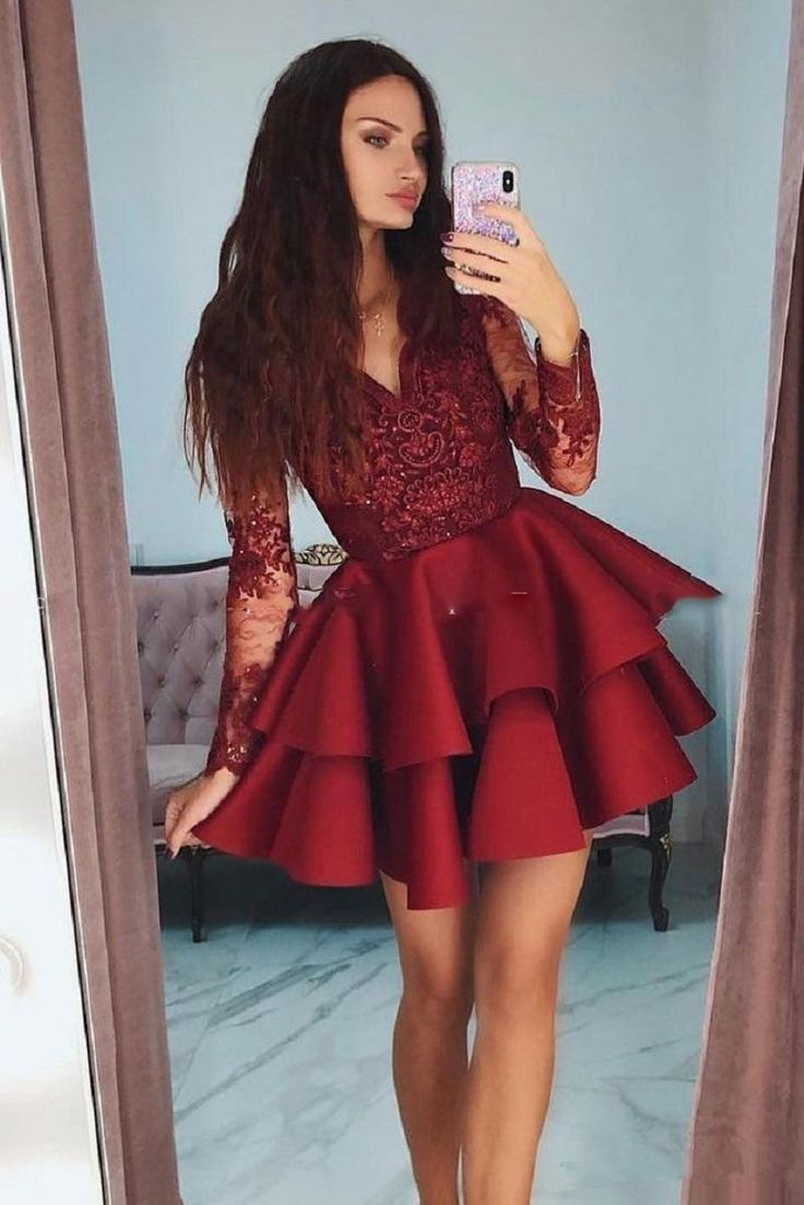 Hot Sale Suitable Short Prom Dress, Prom Dress Lace, Burgundy Homecoming Dress, V Neck Homecoming Dress - #Burgundy #Dress #Homecoming #Hot #lace