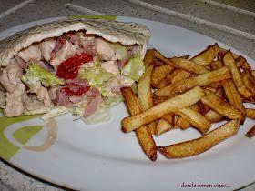 Donde comen cinco....: Pita de pollo y bacon