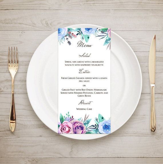 Floral wedding menu template Purple menu card by CardsForWedding