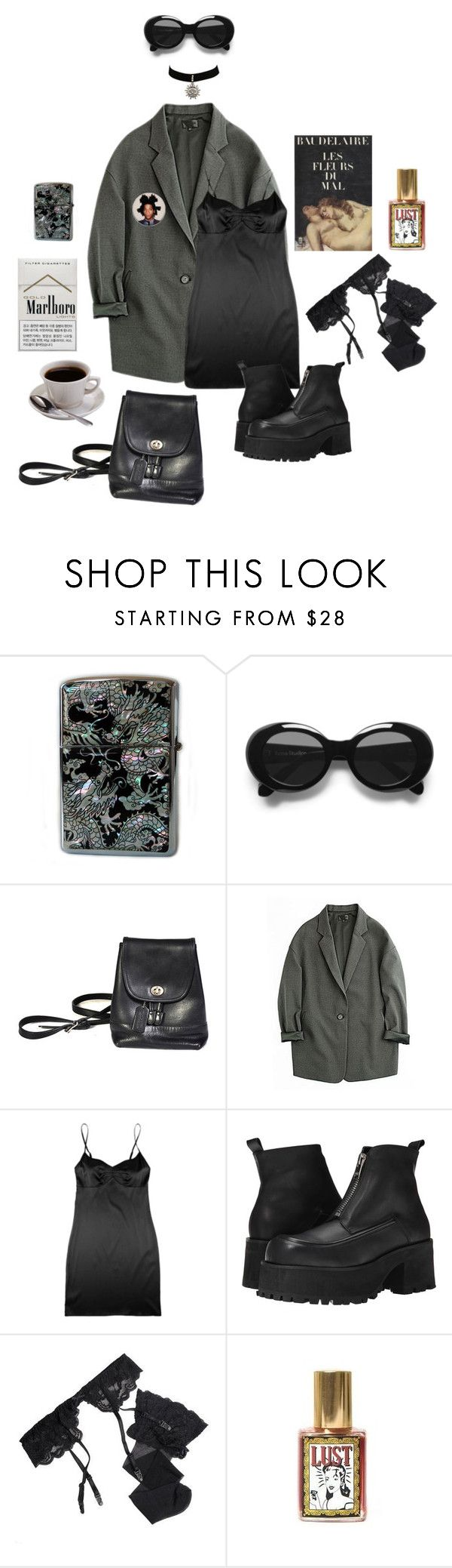 """Dreaming of you (Cigarette after sex)"" by dollhoe ❤ liked on Polyvore featuring Zippo, Acne Studios, JULIANNE, UNIF, Reger by Janet Reger and Baudelaire"