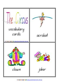 Circus Vocabulary/Flash Cards - Outer Space - PDF file6 page teaching resource.Four cards to each page.Includes image and text on each ...