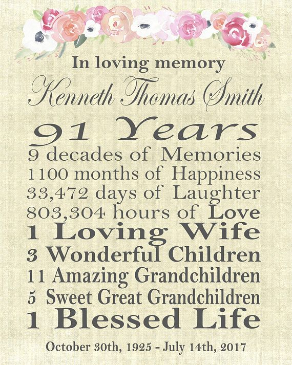 Memorial, celebration of life, celebrating milestones of a life, memorial poster or sign for visitation, wake, or funeral Faye Parish