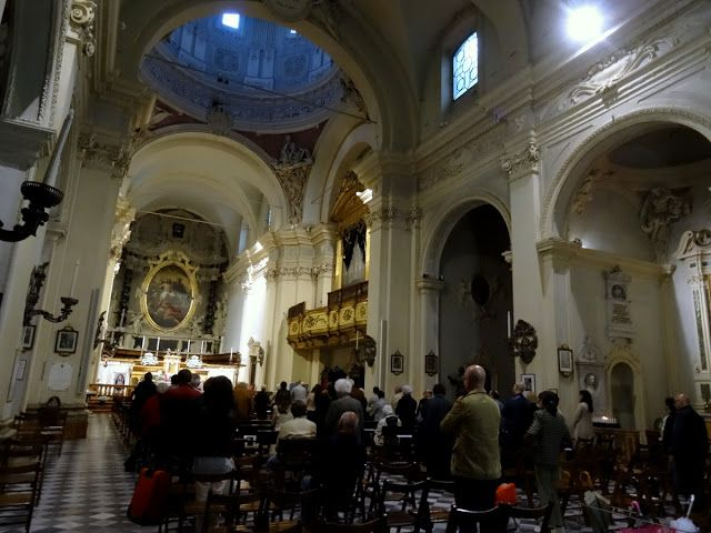 Church service in Parma, Italy
