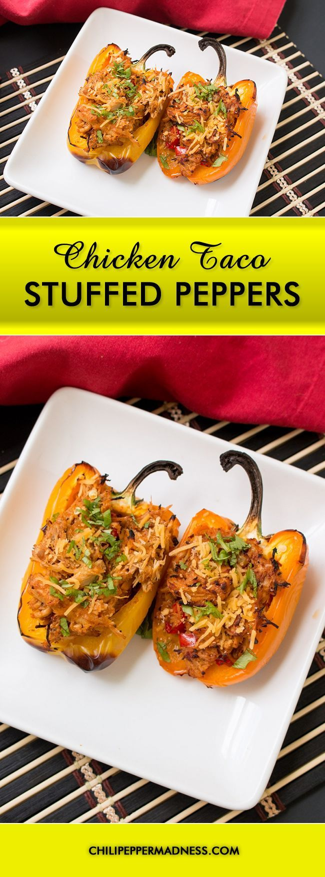 Chicken Taco Stuffed Peppers - Take all the best parts of your favorite chicken taco and turn it into a stuffed pepper. Here is the recipe. Yep. Stuffed peppers done up chicken taco style