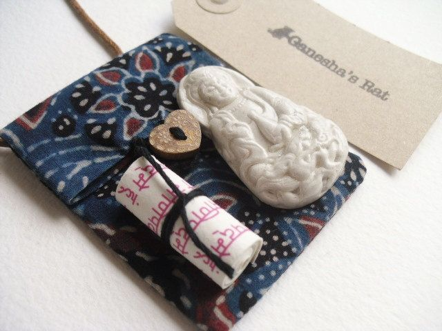 Handmade Kwan Yin amulet pendant, talisman pouch, off white clay relief & compassion mantra in indigo fabric pouch, heart chakra healing by GaneshasRat on Etsy