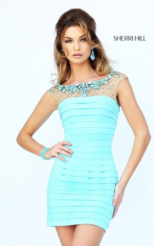 961069894c7 Bead Halter Short Tight Homecoming Dress Sherri Hill 32055 Click