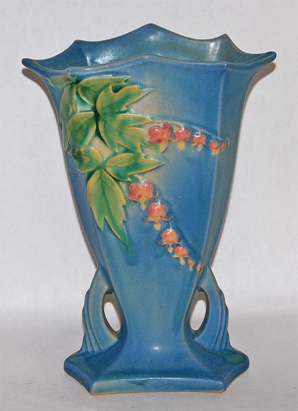 Roseville Pottery Bleeding Heart Blue Vase 968-8 from Just Art Pottery