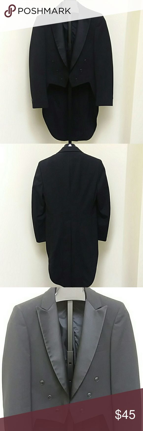 AFTER SIX Peak Lapel Tuxedo Jacket with Tails VTG peak style, tuxedo jacket with tails, with black lining. Plastic buttons. 100% wool. From rental stock at a tuxedo store, has been dry cleaned and ready to wear. After Six Suits & Blazers Tuxedos