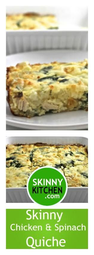 (NEW) Chicken and Spinach Quiche. Simple and sensational! Serve for brunch, lunch or dinner. Each serving has 227 calories, 5g fat and 5 SmartPoints. http://www.skinnykitchen.com/recipes/skinny-chicken-and-spinach-quiche/