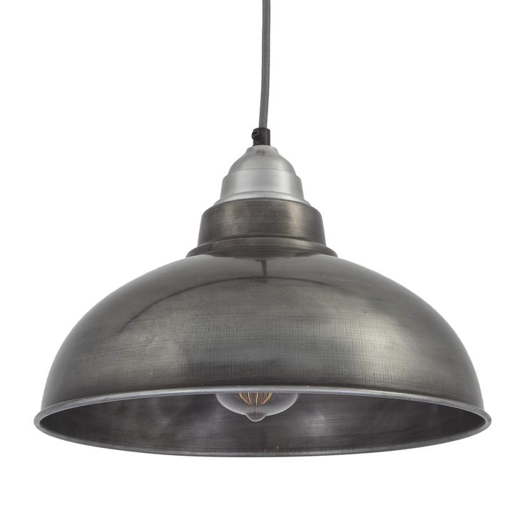I really like this one to go with the gray and white tiles, but then we need the splash of colour to come from somewhere... Old Factory Vintage Pendant Light in Dark Grey Pewter | Industville