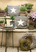 Star pillows. Use the gray fabric scraps and applique or stencil a white star on the top.