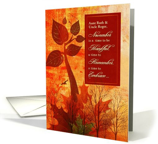 For Aunt And Uncle   Custom #Thanksgiving Autumn Foliage Card