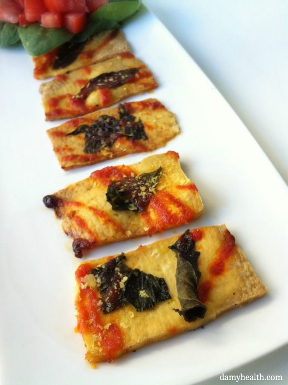 If you like sriracha (and who doesn't really?) these are so easy and soooo good.... didnt have basil do omitted that... Spicy Basil Tofu Pizza Strips | Amy Layne Paradigm Blog