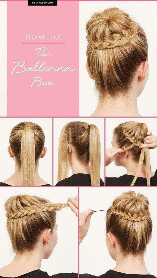Best Hair Braiding Tutorials - How To: The Ballerina Bun - Easy Step by Step Tutorials for Braids - How To Braid Fishtail, French Braids, Flower Crown, Side Braids, Cornrows, Updos - Cool Braided Hairstyles for Girls, Teens and Women - School, Day and Evening, Boho, Casual and Formal Looks http://diyprojectsforteens.com/hair-braiding-tutorials #BunHairstylesBallet