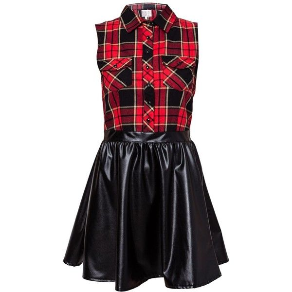 Neon Rose Check 2 In 1 Shirt Dress ($7.10) ❤ liked on Polyvore featuring dresses, vestidos, dresses/skirts, short dresses, short black dresses, black flared skirt, shirt-dress, black party dresses and black circle skirt