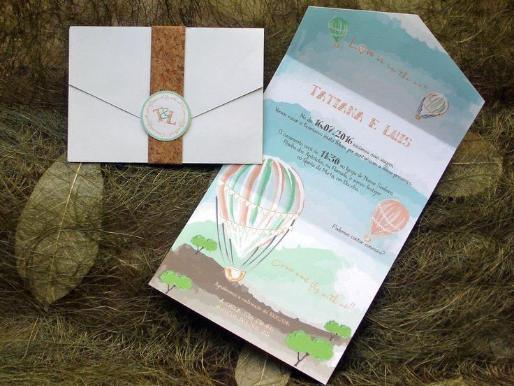 Convite de casamento Moderno e original com cortiça; Modern and original wedding invitation