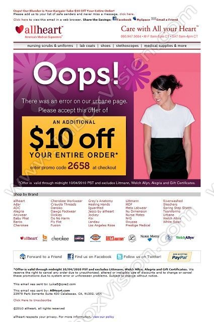 Company: All Heart   Subject: Oops! Our Blunder is Your Bargain-Take $10 Off Your Entire Order!         INBOXVISION, a global email gallery/database of 1.5 million B2C and B2B promotional email/newsletter templates, provides email design ideas and email marketing intelligence. www.inboxvision.c... #EmailMarketing  #DigitalMarketing  #EmailDesign  #EmailTemplate  #InboxVision  #SocialMedia  #EmailNewsletters