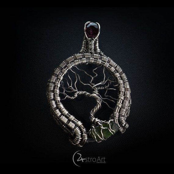 Tree of life pendant with Spinel and Tourmaline by AstroArtDesign