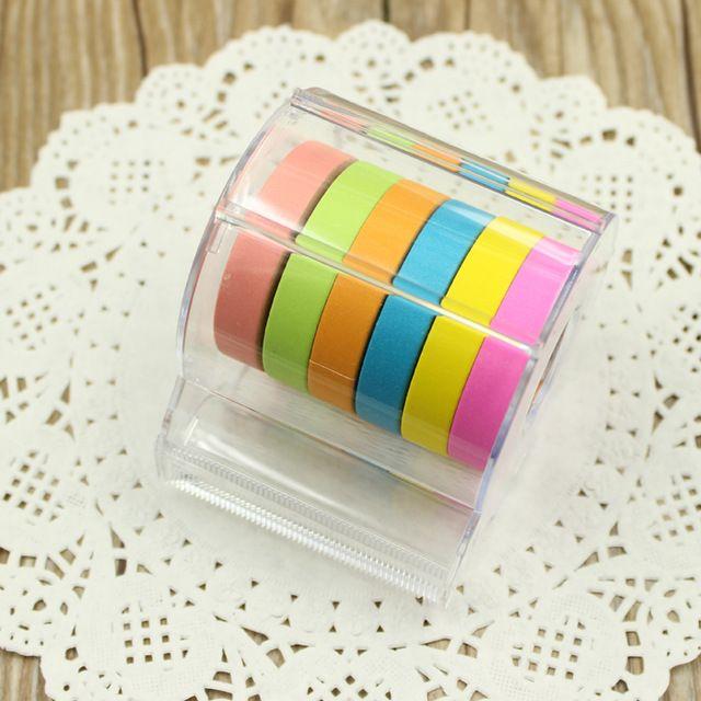 (Padrão de Presente 6 Cor Fita) de Plástico Dispensador de fita Washi Tapes titulares Conveniente durável 2016 Novos Materiais Escolares Papelaria