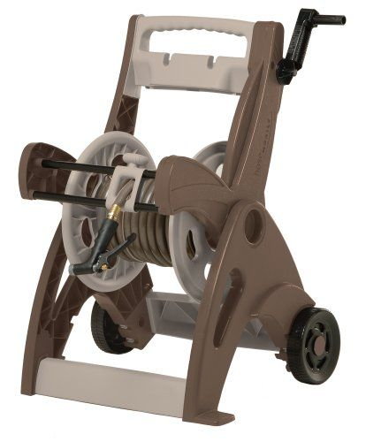 Hose Reel Cart with High Crank And Hose Guide, Bronze/Taupe CPLHCT200B