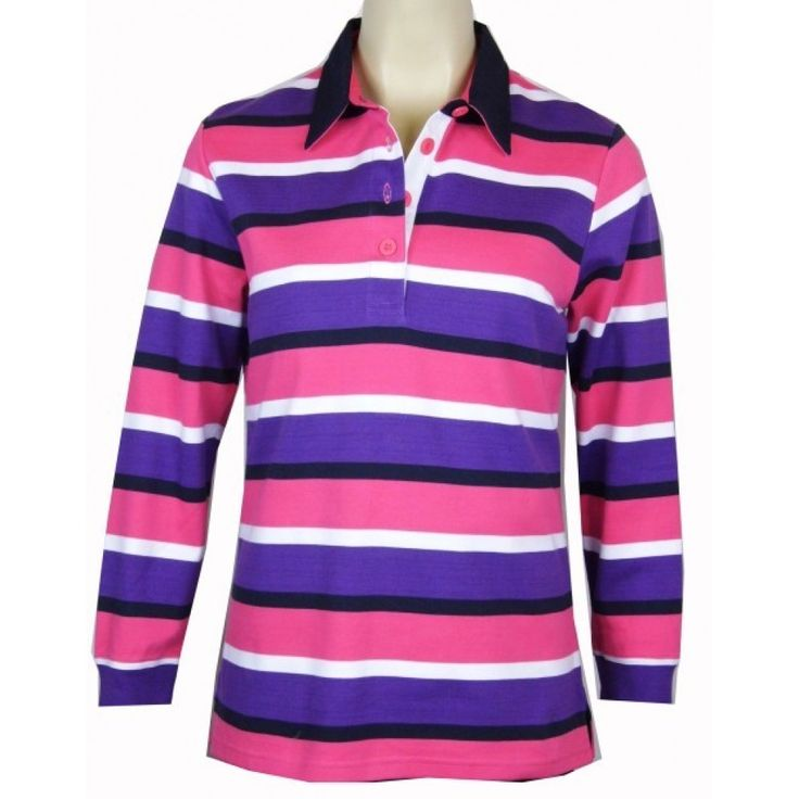 Equinox Striped Rugby Top Purple