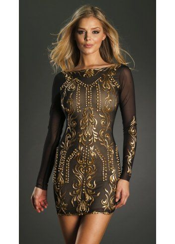 Holt sveta black gold hand painted bodycon dress holt for Holt couture dresses