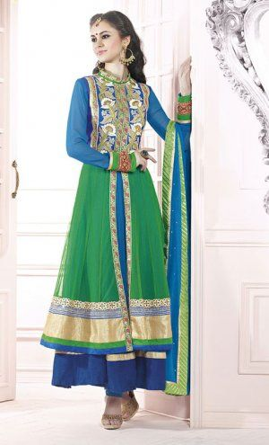 Amazing Green And Blue Georgette And Net Indian Churidar Kameez. Sale : $127.00